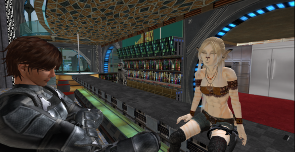 Clan Wolf ahurn Jager and Clan Bastet ahurn Serus share some down time at the Sol Cantina at Botany Bay, Nova Gaia