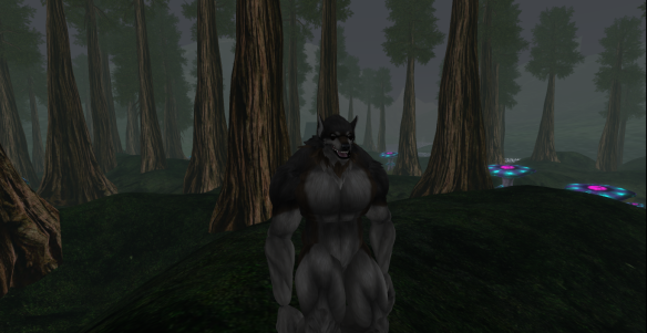 Clan Wolf crinos Ahrun in the forests of Dokk Refurinn